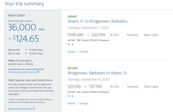 MIA to BGI on AA.com (Image courtesy American Airlines)