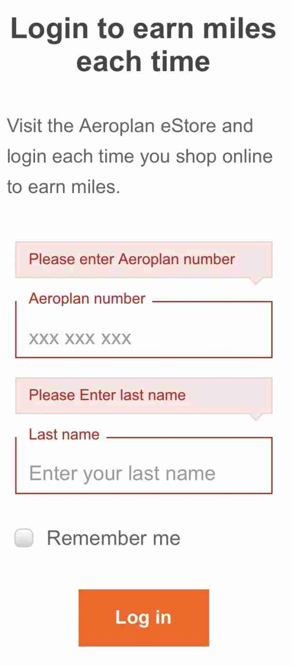 Signing in to earn Aeroplan miles with Uber Eats
