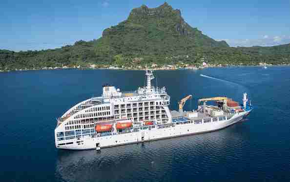 Half-freighter, half-cruise-ship, the Aranui 5 sails to remote French Polynesian islands out of Papeete, Tahiti. (Photo by James D. Morgan/Getty Images)