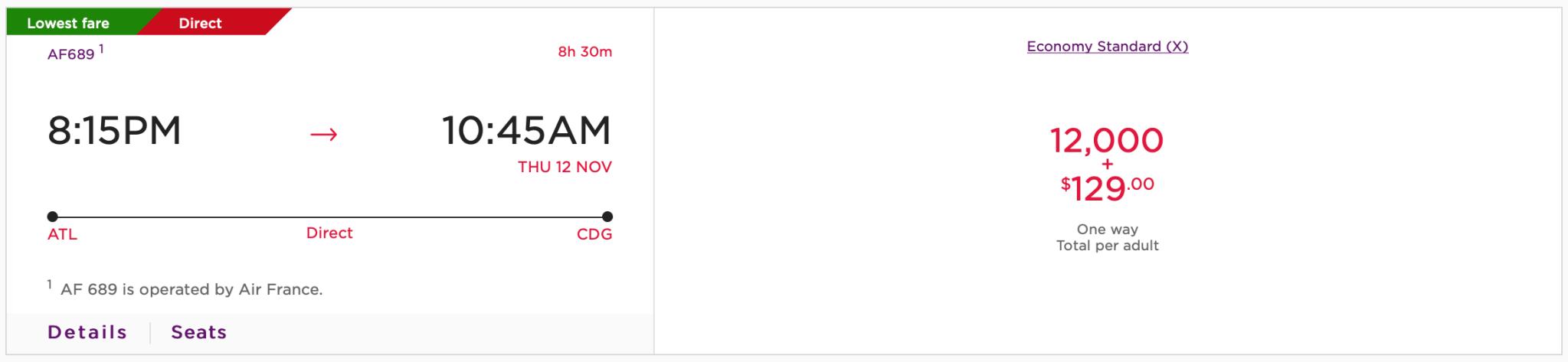 ATL CDG Virgin Atlantic Pricing for Air France Flight Screen Shot