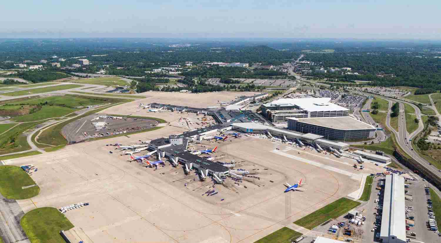 An aerial of the Nashville airport with the new Concourse D X. (Photo courtesy of Nashville International Airport)