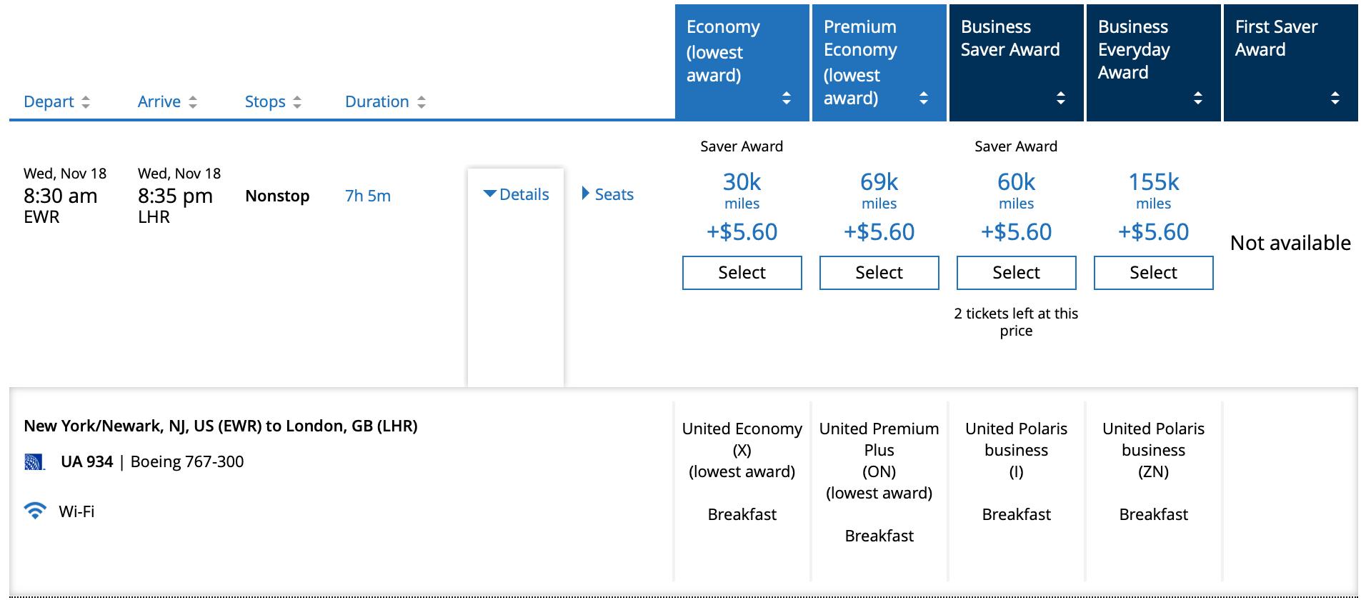 EWR LHR United Mileage Plus Pricing