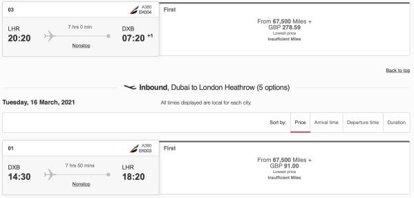 Emirates LHR to DXB Round Trip Pricing Emirates Skywards