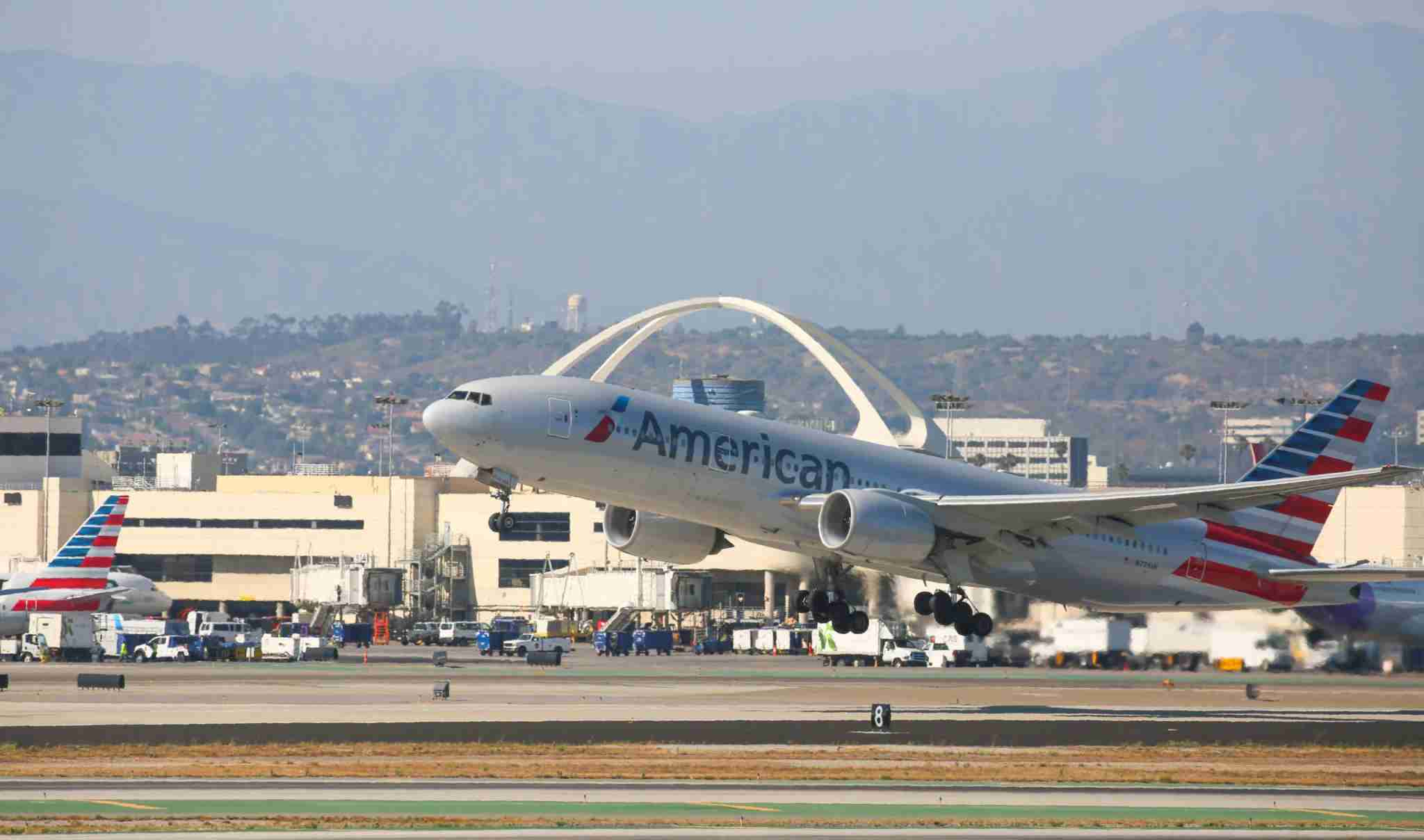 LOS ANGELES, CA - JUNE 18: American Airlines Boeing 777, departs Los Angeles International Airport on June 18, 2017 in Los Angeles, California. (Photo by FG/Bauer-Griffin/GC Images)