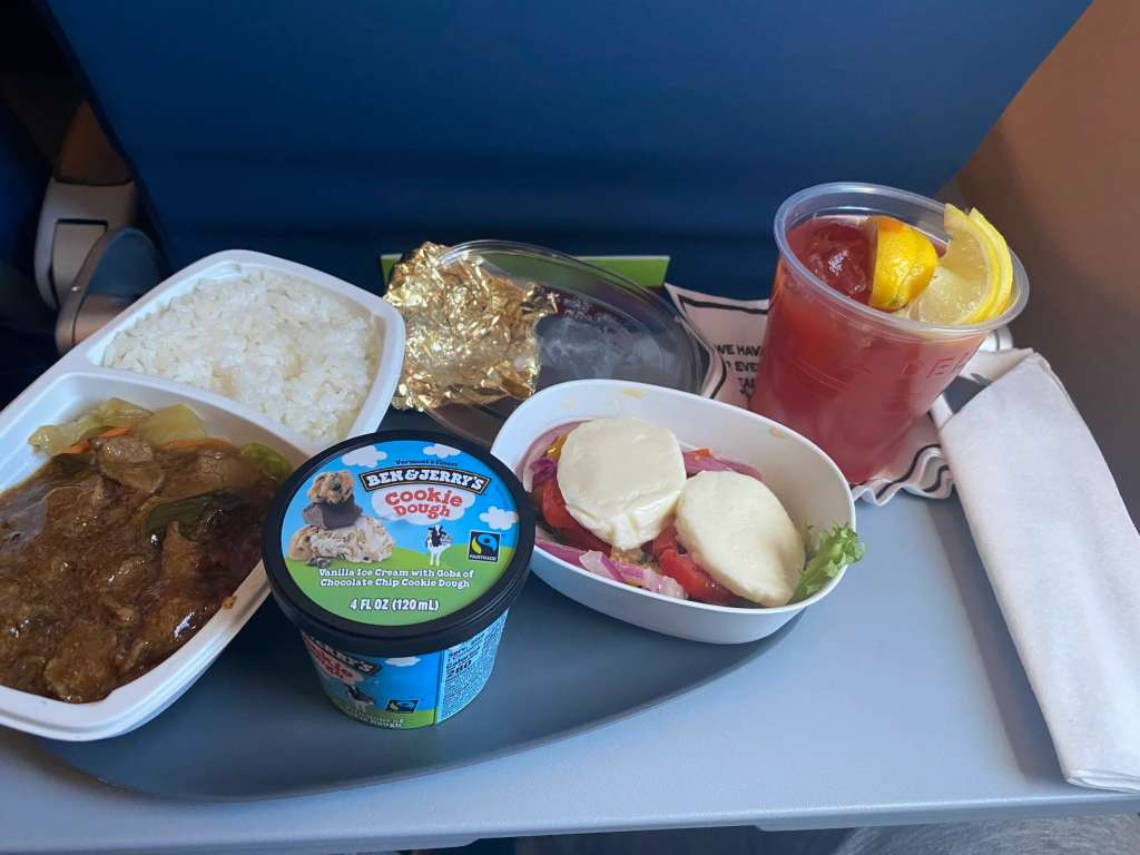 Delta's in-flight meal during the pandemic for international trip