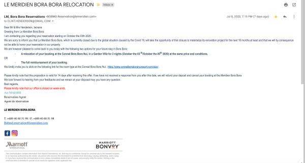 Cancellation notice from Le Meridien Bora Bora.