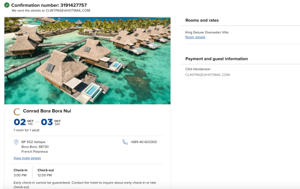 Bora Bora reservation. (Image courtesy Hilton)