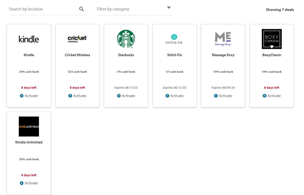 (Screenshot taken of the Wells Fargo deals portal)