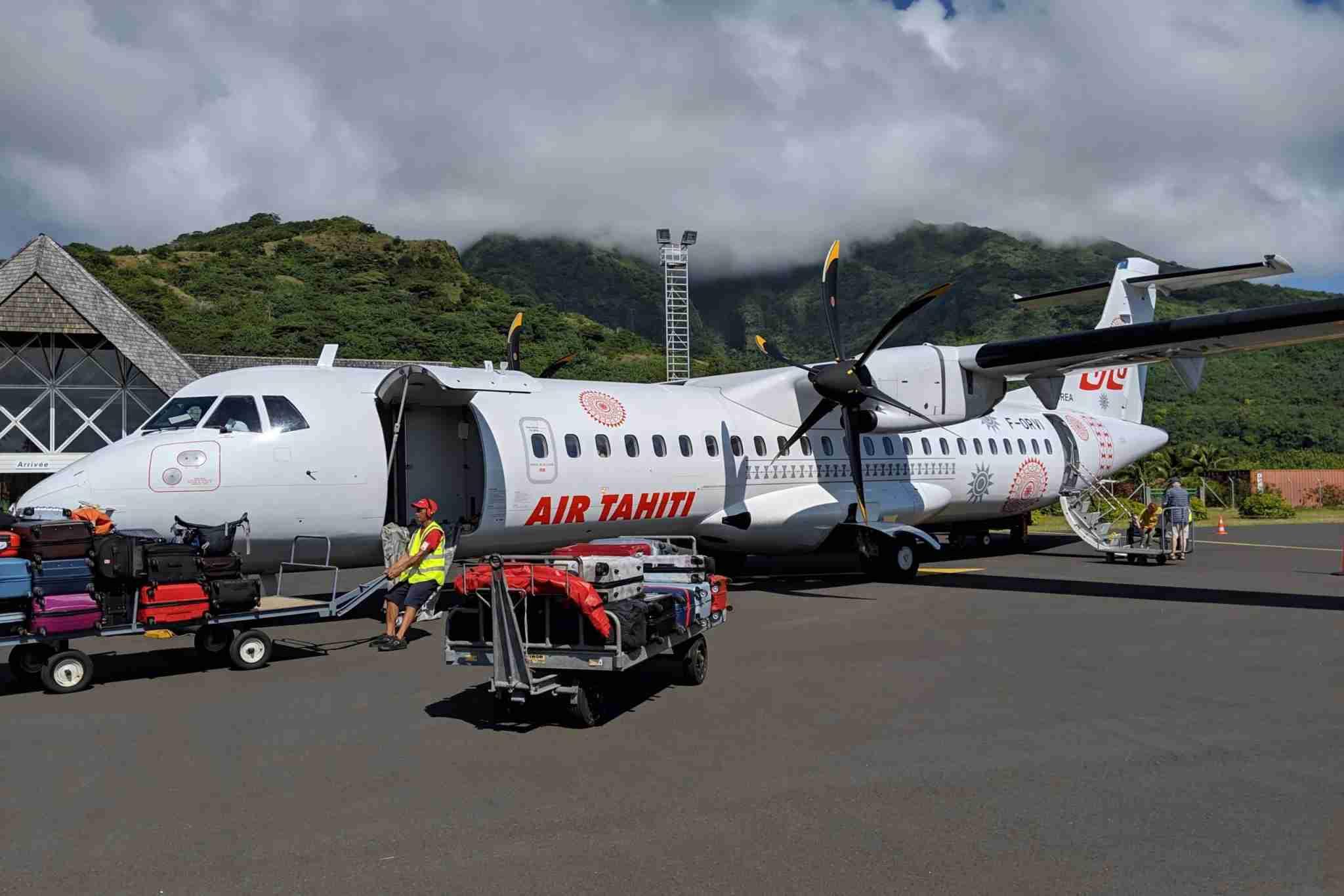 Air Tahiti plane in Moorea, French Polynesia