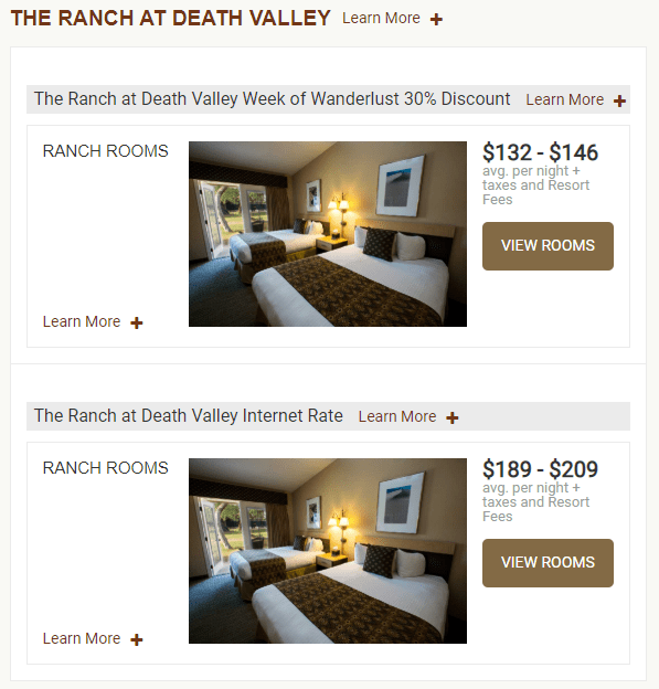 I found availability for the WOW rate for a one-night stay on Oct 1, 2020 (Image courtesy of Oasis at Death Valley)
