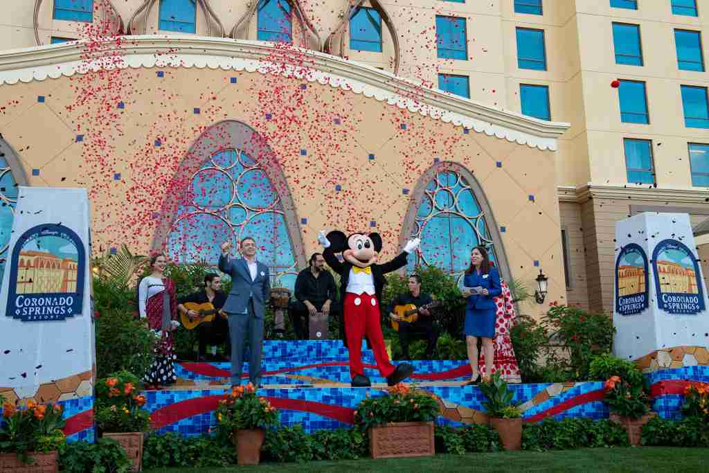 Walt Disney World Resort cast members celebrate the grand opening of the new Gran Destino Tower at Disney's Coronado Springs Resort in Lake Buena Vista, Fla., July 9, 2019.  The opening of the tower also marks completion of a multiyear re-imagining of Disney's Coronado Springs Resort, which offers new restaurants, recreational amenities, club-level services and a new arrival experience. (David Roark, photographer)