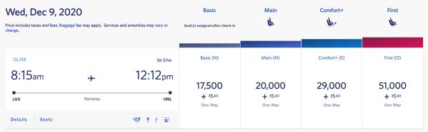 LAX to HNL SkyMiles Pricing