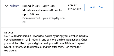 Screenshot from Amex