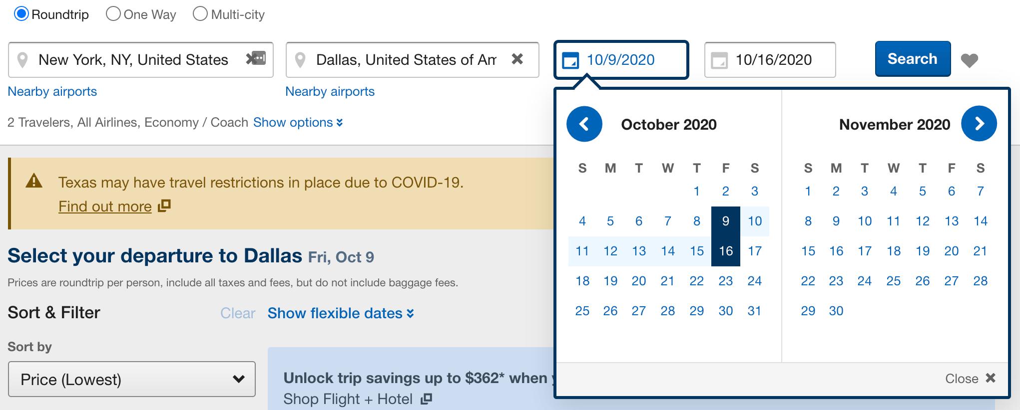 Screengrab from Expedia