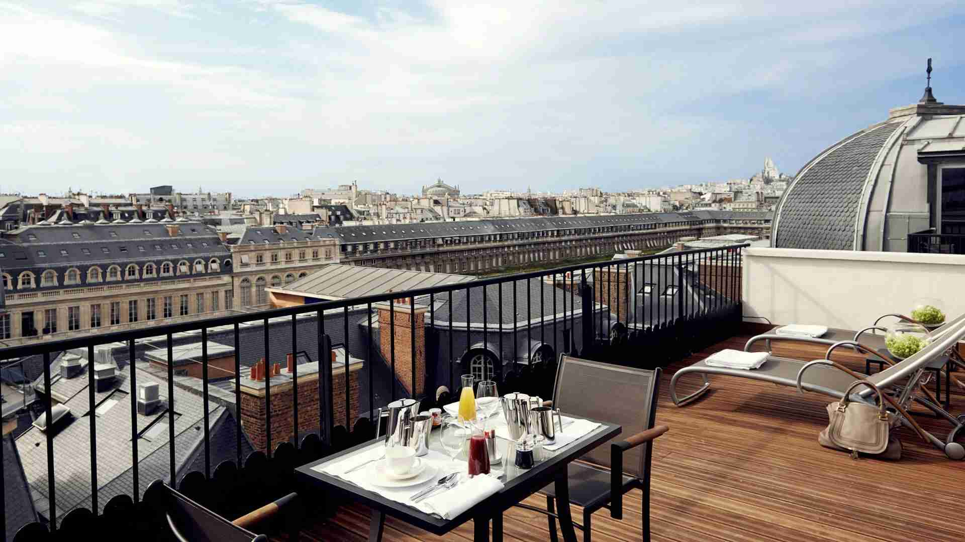 The terrace of the Panoramic Suite at the Grand Hotel du Palais Royal. (Photo courtesy of Hyatt)