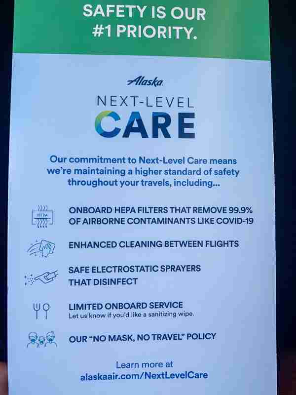 "Alaska Airlines ""Next Level Care"" brochure (Photo by Clint Henderson/The Points Guy)"