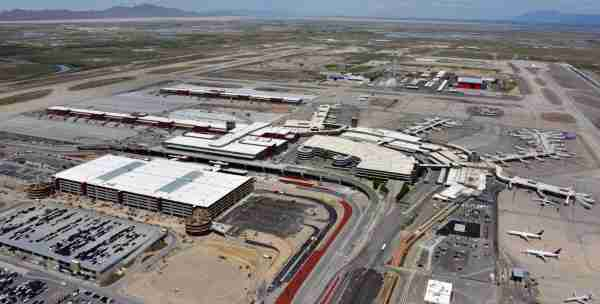 An aerial view of the Salt Lake City airport with the new terminal and satellite concourses on the left, and the old complex on the right. (Photo courtesy of the Salt Lake City International Airport)