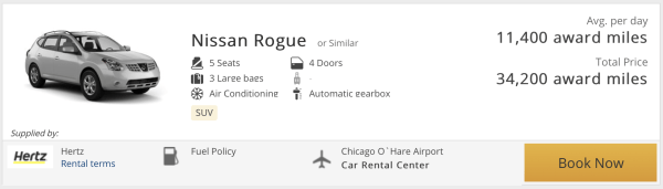 Booking rental cars with United miles
