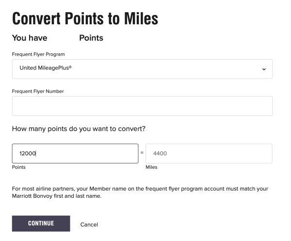 Converting Marriott Points to United Miles