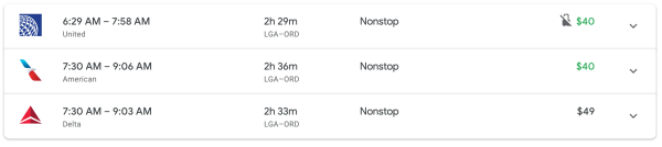 Pricing on one-way flight New York to Chicago