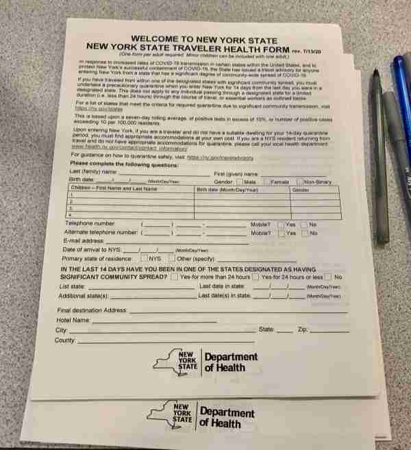 New York quarantine traveler health forms. (Photo by Clint Henderson/The Points Guy)