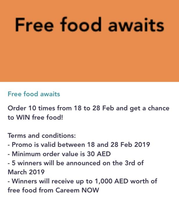 careemnow careem now free food offer February 2019 dubai uae