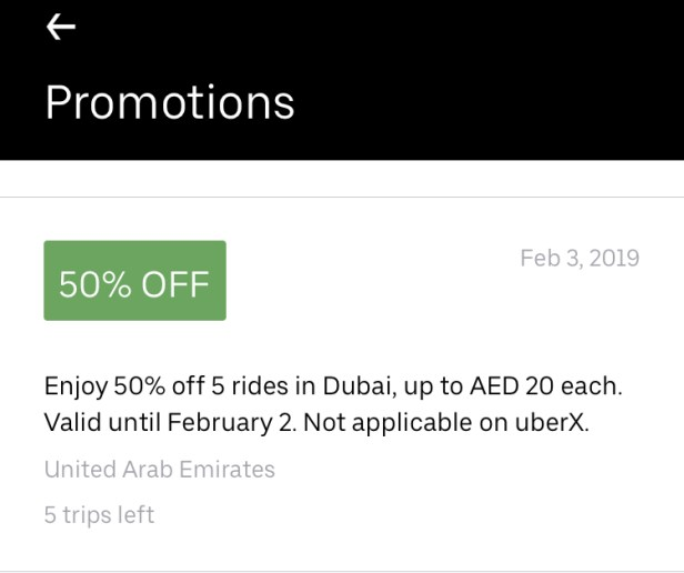 uber Dubai abudhabi promo codes