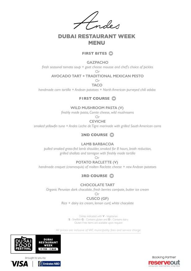 andes Dubai Restaurant week world trade centre menu review uae