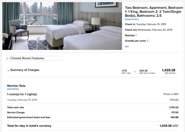 dubai marriott harbour hotels suites price