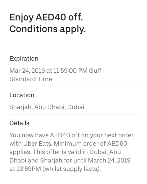ubereats uber eats promo code Dubai Abu Dhabi Sharjah discount deal offer coupon uae