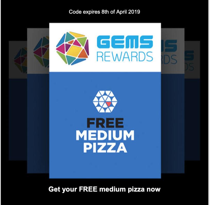 freedom pizza offer free pizza gems rewards Dubai Abu Dhabi Sharjah al Ain UAE offer discount coupon deal promotion promo code