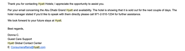 grand Hyatt Abu Dhabi UAE Hyatt customer service