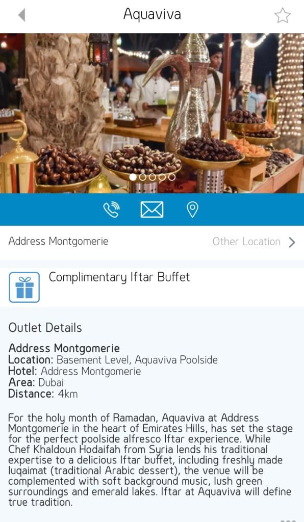 gems rewards app free iftar buffet aquaviva address Montgomerie Dubai UAE