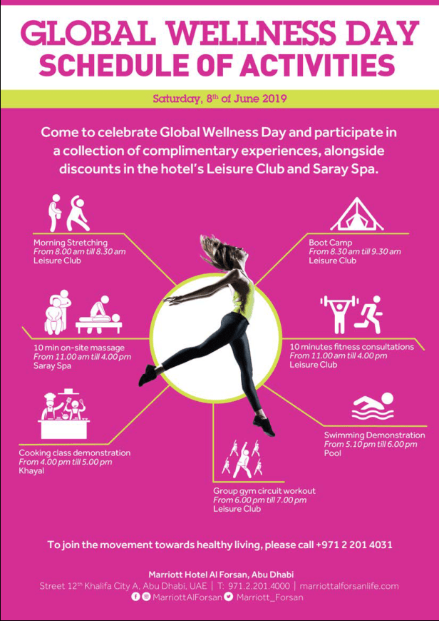 marriott al forsan abu dhabi bonvoy saray spa club global wellness day leisure fitness auh uae 2019