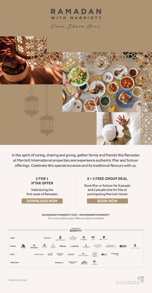 ramadan with marriott bonvoy iftar offers discount deal uae dubai abu dhabi sharjah ksa saudi arabia bahrain manama