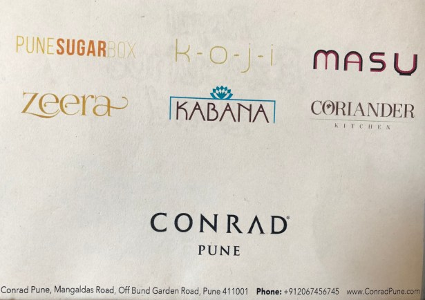 conrad pune dining review hilton honors india maharashtra sugar box koji masu coriander kitchen zeera kabana