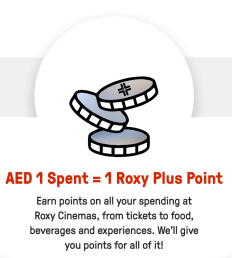 roxy plus cinemas cinema movie movies loyalty rewards points earn redeem dubai uae