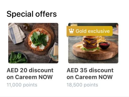 careem rewards for careemnow now gold exclusive food order app loyalty points dubai abu dhabi sharjah ajman uae