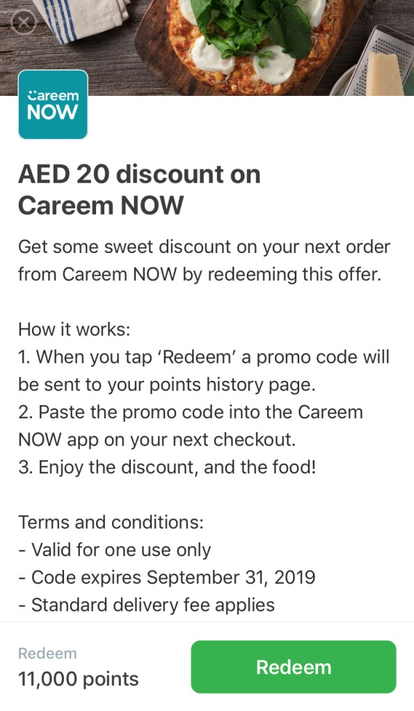 careem rewards for careemnow now gold exclusive food order app loyalty 11,000 points redeem aed 20 dubai abu dhabi sharjah ajman uae