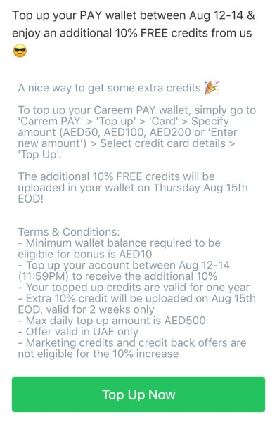 careempay careem pay 10% wallet bonus promo promotion free credit august 2019 dubai abu dhabi uae