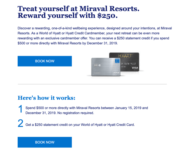 world of hyatt promotions promotion miraval resorts $250 credit card $500 spend december 31 2019
