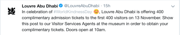 museum auh free entry complimentary world kindness day 2019 first 400 visitors hours ticket prices review united arab emirates uae thepointshabibi twitter