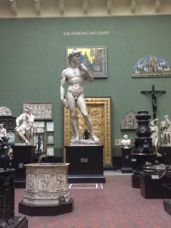 For comparison, the plaster cast replica of David in London's Victoria and Albert Museum
