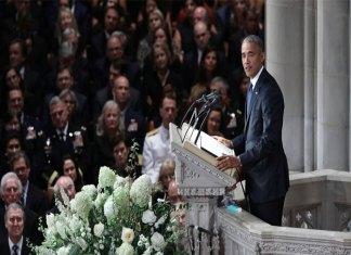Former US President Barack Obama eulogizes Senator John McCain