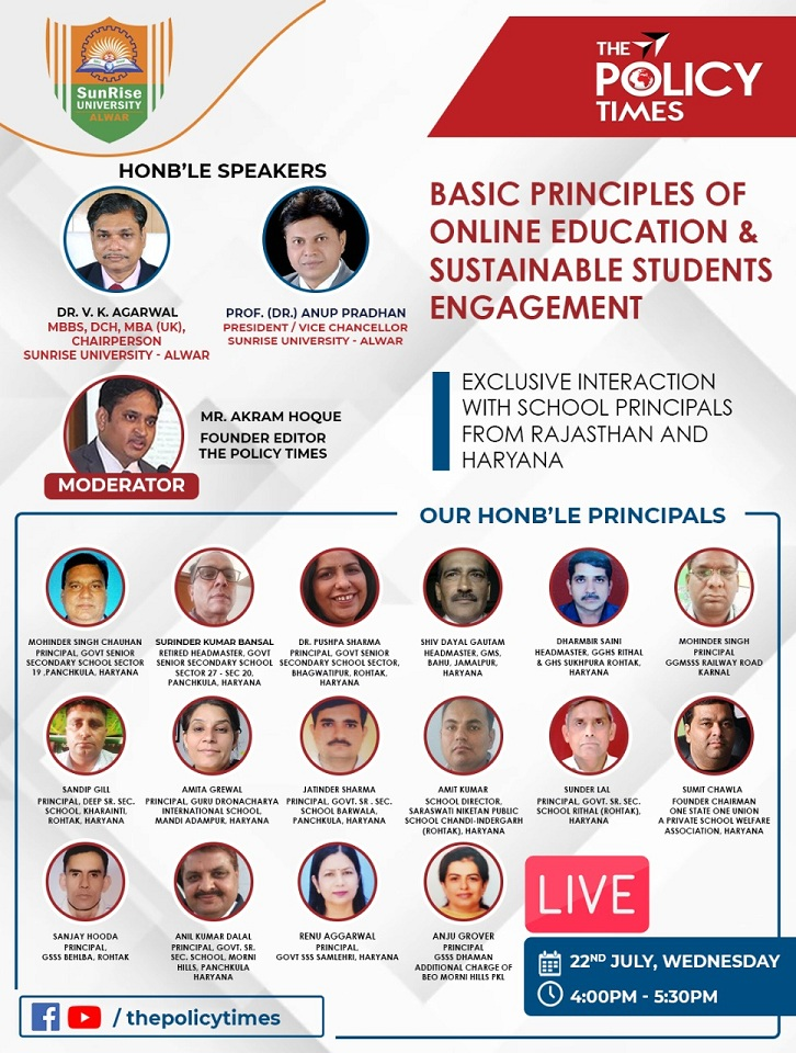 Policy Times Webtalk| Excellent Work of Haryana & Rajasthan Schools in the Progress of Online Education. The policy times