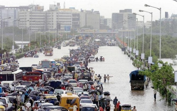 Massive flooding and destruction after a heavy downpour and howling wind in Mumbai. The policy times