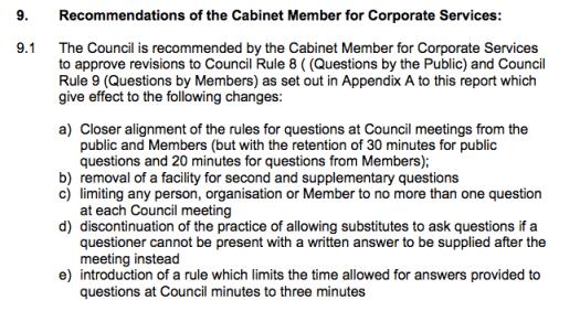 Council questions
