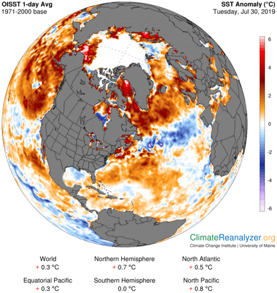 """Monthly SST Anomaly: global. The darker the shade of red or blue, the larger the difference from the long-term average or """"usual"""" sea surface temperature. Locations that are white or very light show where sea surface temperature was the same as or very close to its long-term average."""