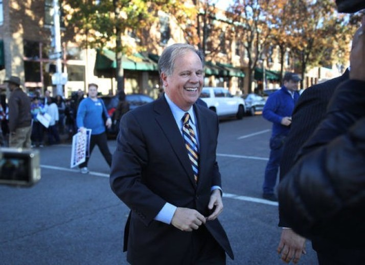 BIRMINGHAM, AL - DECEMBER 10:  Democratic Senatorial candidate Doug Jones leaves after a campaign stop at a Jones for Senate field office on December 10, 2017 in Birmingham, Alabama. Jones is facing off against Republican Roy Moore in Tuesday's special election for the U.S. Senate.  (Photo by Joe Raedle/Getty Images)