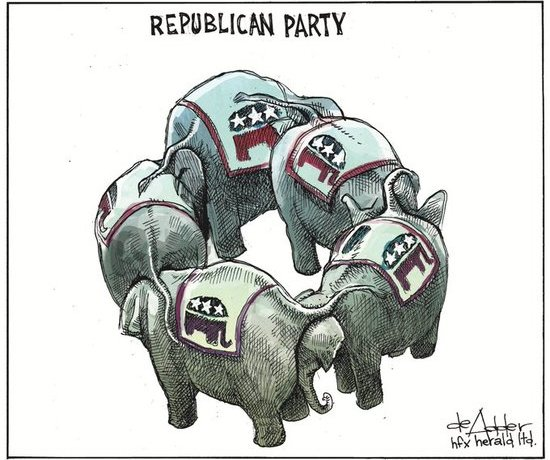 Miss Myrtle Resists @MissMyrtle2 13h Michael @deAdder sums up the state of the #Republican's #GrandOldParty. Correct me if I'm wrong, but circus elephants went extinct quite a few years ago. The GOP are headed for the Ash Heap of History, and #GITMO